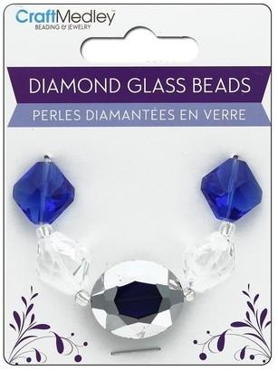 Multicraft Glass Bead Strand Oval/Diamond Sapphire - Medium