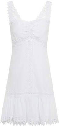 Charo Ruiz Ibiza Ruched Crocheted Lace-trimmed Cotton-blend Voile Mini Dress
