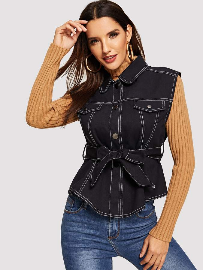 Contrast Stitch Self Belted Vest