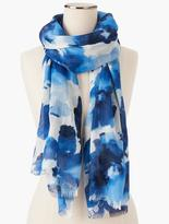 Talbots Fringed Watercolor Flowers Scarf