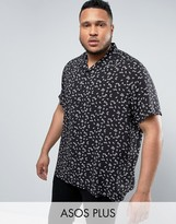 Asos PLUS Regular Fit Viscose Shirt With Fan Print
