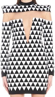 Balmain Sheer Insert Mini Dress