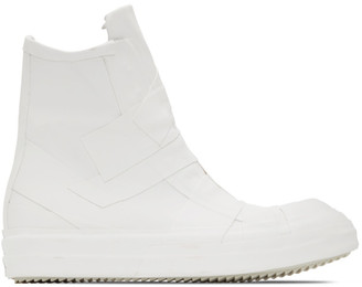 Rick Owens White Rubber Capped Sneakers