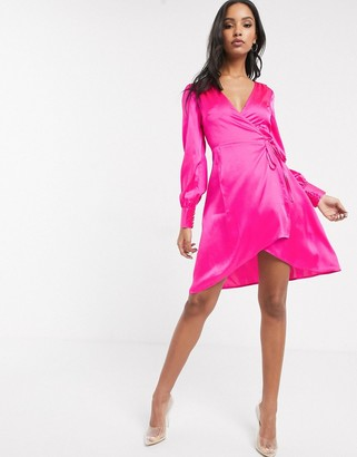 UNIQUE21 satin wrap dress in pink