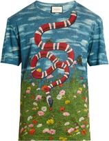 Gucci Sky and garden-print linen T-shirt