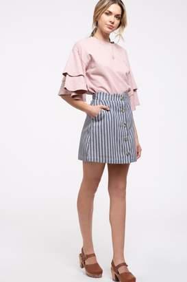 Blu Pepper Denim Striped-Scallop Skirt
