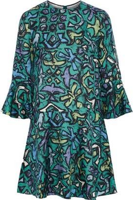 Valentino Fluted Printed Silk-crepe Mini Dress