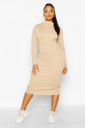 boohoo Plus Rib Knit Roll Neck Midi Dress