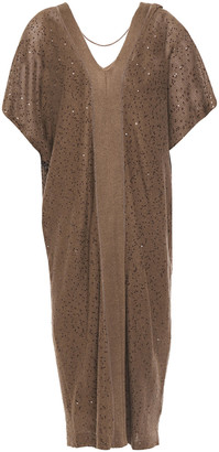 Brunello Cucinelli Sequin And Bead-embellished Linen And Silk-blend Dress