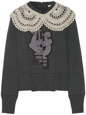 Marc Jacobs Crochet-trimmed Appliqued Wool-blend Sweater