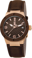 Just Cavalli 34mm Rock Watch w/ Leather Strap, Brown