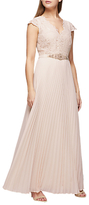 Jacques Vert Pleated Embroidered Bodice Maxi Dress, Light Pink