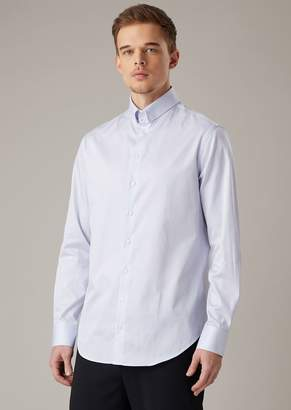 Giorgio Armani Slim-Fit Shirt In Striped Cotton Poplin