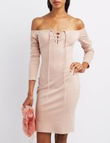 Charlotte Russe Off-The-Shoulder Lace-Up Dress