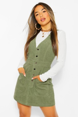 boohoo Petite V-Neck Cord Button Front Pinafore Dress
