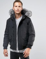 Celio Short Parka with Faux Fur Trim