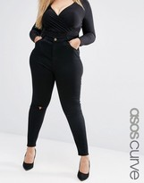 Asos High Waist Ridley Skinny Jean in Clean Black with Rose Gold Trims & Rips