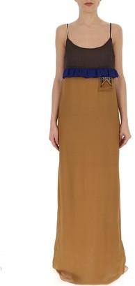 Prada Ruffle Trimmed Maxi Dress