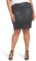 Melissa McCarthy Coated Denim Pencil Skirt (Plus Size)