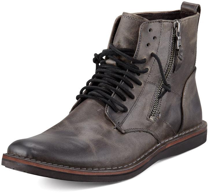 John Varvatos Barret Side-Zip Boot, Dark Gray