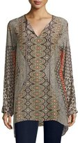 Johnny Was Breeland Printed Tie-Front Tunic, Multi