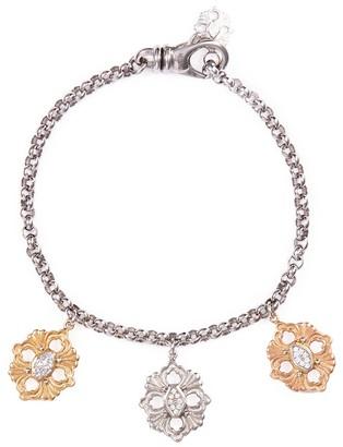 Buccellati 'Opera' diamond 18k gold floral charm bracelet