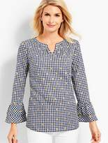 Talbots Gingham Embroidered-Flower Popover