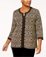 Alfred Dunner Plus Size Metallic-Print Keyhole Tunic