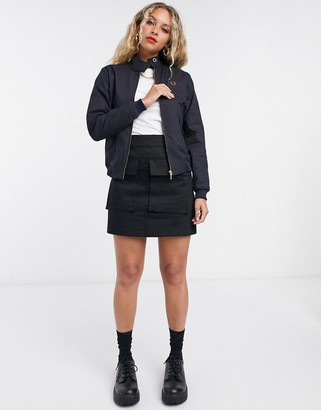 Fred Perry harrington jacket with pleated back detail in navy
