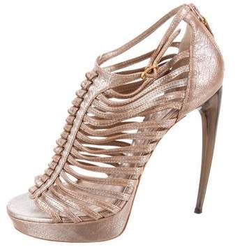 Alexander McQueen Metallic Caged Sandals
