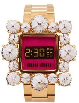 Miu Miu Crystal-embellished Watch Bracelet - Womens - Gold