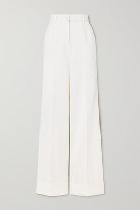 Dolce & Gabbana Wool-blend Wide-leg Pants - White