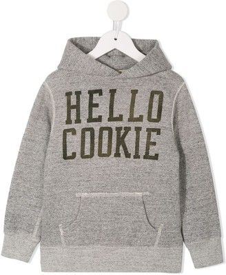 Denim Dungaree logo print hoodie