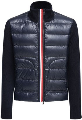 Moncler Tricot Wool Nylon Laque Down Cardigan