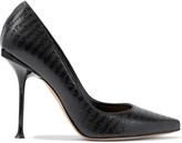 Thumbnail for your product : Sergio Rossi + Elizabeth Stewart Sr Milano Embossed Leather Pumps