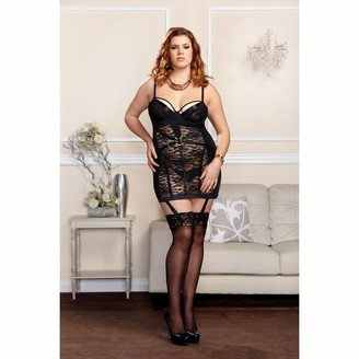 iCollection Women's Plus-Size Floral Lace Chemise