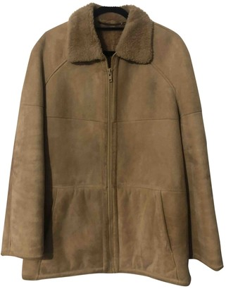 Shearling Beige Leather Coat for Women