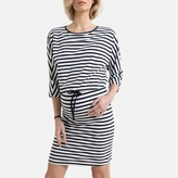 La Redoute Collections Organic Cotton Maternity Dress in Breton Striped Print with Long Sleeves