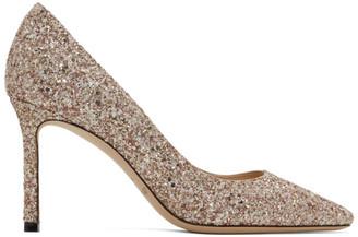 Jimmy Choo SSENSE Exclusive Pink and Gold Coarse Glitter Romy 85 Heels