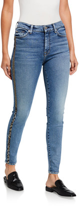 7 For All Mankind High-Waist Ankle Skinny with Metallic Coated Animal Stripes