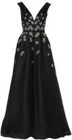 Carolina Herrera Embroidered V-Neck Flared Silk Gown