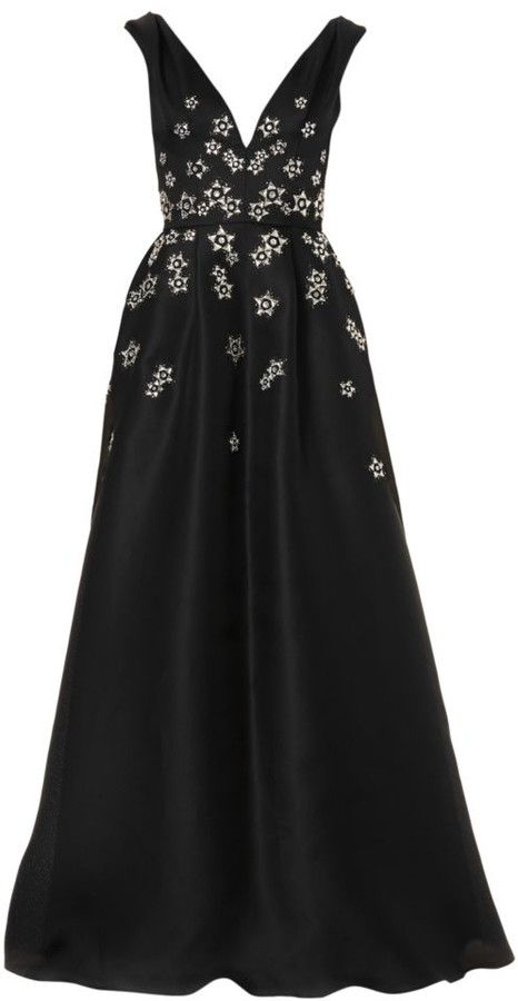 Carolina Herrera Embroidered V-Neck Flared Silk Gown