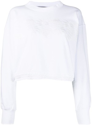 Sacai Embroidered Ruched Hem Jumper