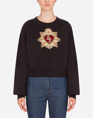 Dolce & Gabbana Jersey Sweatshirt With Heart Embellishment