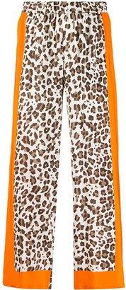 P.A.R.O.S.H. Contrast Leopard-Print Trousers