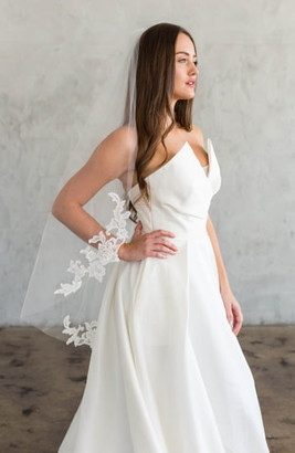 Brides & Hairpins Ameliana Lace Trim Silk Tulle Veil