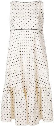 Talbot Runhof polka dot ruffle dress