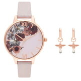 Olivia Burton English Garden Leather Strap Watch Set, 34mm
