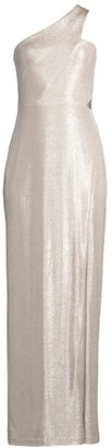 Aidan Mattox One-Shoulder Foil Knit Column Dress