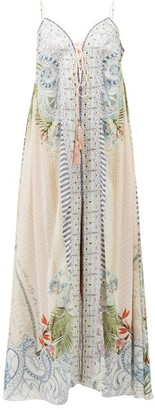 Camilla Beach Shack Lace-up Silk Maxi Dress - White Print